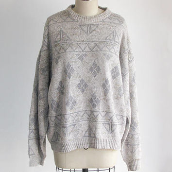 vintage 1990s oversized knit twin peaks sweater / 90s fair isle fishermans sweater / beige blue green cotton jumper pullover / winter wool