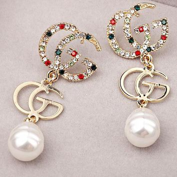 GUCCI 925 Silver Needle Classic Hot Sale Women Chic Diamond Pearl Pendant Earrings Accessories Jewelry