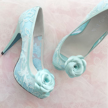 Something Blue Mint Floral Lace Peep Toe Bridal Wedding Shoes Pumps with Handmade Rosette Shoe Clips