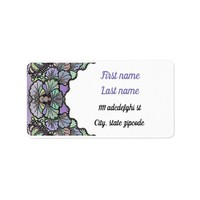 Old world purple pansy tile print address label