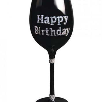 Happy Birthday Wine Glass Clear Stones Black