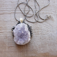 Druzy Amethyst Necklace Hand formed Sterling Silver Statement jewelry