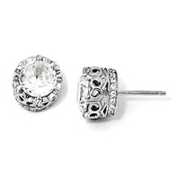 Cheryl M Sterling Silver 100-Facet CZ 10mm Round Post Earrings