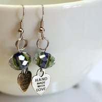 Hand Made with Love Heart Charm and crystal bead Fashion Earrings
