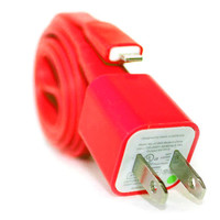Red iPhone 5/5s/5c Charger - 1m/3ft iPhone 5/5s/5c Cable and Plug