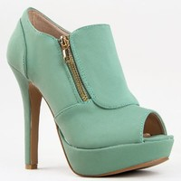 Qupid GAZE-311 Platform High Heel Peep Toe Zipper Detail Ankle Boot Bootie