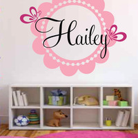 Custom Name Decal-Shabby Chic Girls Elegant Scalloped Butterfly Flower Monogram Name Decal- Baby Nursery- Girl Teen Fancy