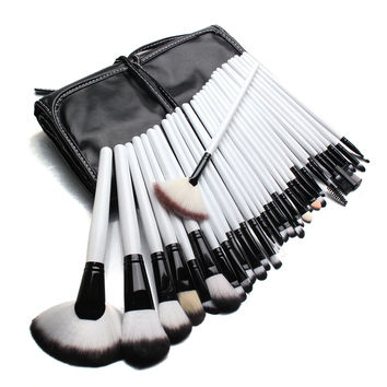 32 Pcs Professional White Makeup Brush Set Eyeshadow Blush Cosmetic Brushes Kit With Bag