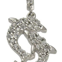 SOLID 14K WHITE GOLD SPARKLY CLEAR CZ HAWAIIAN DOUBLE DOLPHIN PENDANT 12.5MM