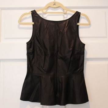 Zara Faux Leather Peplum Top With Low Back