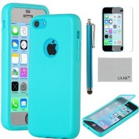 iPhone 5C Case, iPhone 5C Cover, iPhone 5C Cases, ULAK Clear TPU Wrap Up Full Protection Flip Case For Apple iPhone 5C w/ Built-in Screen Protector and Stylus (Blue)