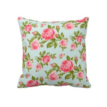 Girly Cottage Chic Romantic Floral Vintage Roses Throw Pillow from Zazzle.com