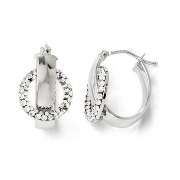 Polished Oval Hoop Earrings in 14k White Gold with Swarovski Crystals