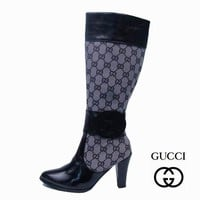 GUCCI Women Fashion Leather Tube in Boots Heels Shoes