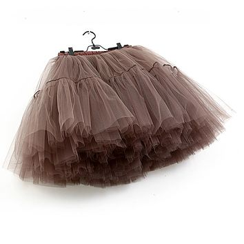 Brown Layered Ruffle Mesh Midi Tulle Skirt Tutu Skirts Women Underskirt Bridesmaids Petticoat