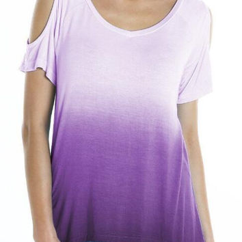 Cold Shoulder Irregular Hem Ombre T-Shirt 13370