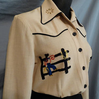 1940s Westen Ranch Wear Novelty Embroideed Fitted Gabardine Womans Shirt by Connie