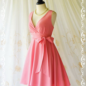 My Lady II Spring Summer Sundress Vintage Design Bubblegum Pink Party Dress Pink Bridesmaid Dress Garden Party Sundress Pink Dresses XS-XL