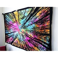 Future Handmade forest tree tie dye multi color tapestry wall tapestry hippie tapestry wall hanging Indian psychedelic tapestry mandala beach throw boho tapestries bohemian bedspread Size 81x55 Inches