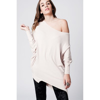 Q2 Beige soft asymmetric jersey with bat sleeves