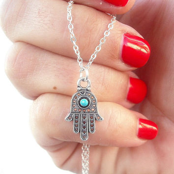 Tiny Hamsa necklace, silver charm necklace, turquoise necklace, protection necklace- Gift under 20 by Tiny Box