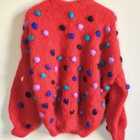 Vintage Mohair Sweater -- Pom Pom Sweater -- Fluffy Sweater -- Angora Knit 80s Sweater -- Colorful Red Confetti Sweater -- Womens M / L