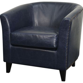 Orson Bonded Leather Tub Chair Black Legs, Vintage Blue