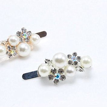 1pc Fashion Bridal magnet clasp Gold Silver Hairpin Crystal Flower Hair Clip Wedding Hair Jewelry Pearl Accessories A8-12