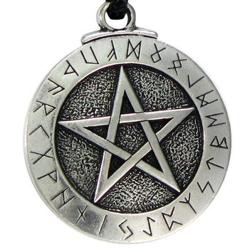 Viking Runes Pendant Necklace Large Rune Pentacle Pendant Pentagram Jewelry Wiccan Necklace Norse Pagan Runes