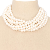 80's__Vintage__Chunky Multi-Chain Pearl Necklace