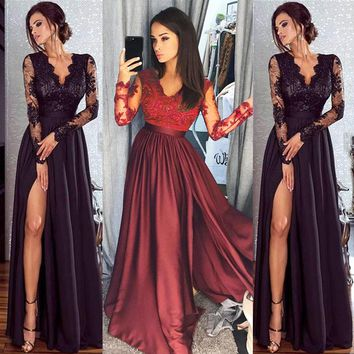 Women Lace Evening Party Ball Prom Gown Formal Wedding Long Dress Elegant Solid Red Black Dressees