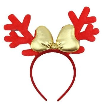 2Pcs Generic Short Plush Reindeer Antlers Headband Christmas and Easter Party Headbands   Brown  Red