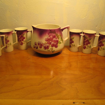 DRESDEN CHINA MADE IN GERMANY LEMONADE PITCHER AND SIX CUPS