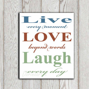 Live love laugh quote printable Inspirational quote print Teal brown green Wall art Home decor Motivational INSTANT DOWNLOAD