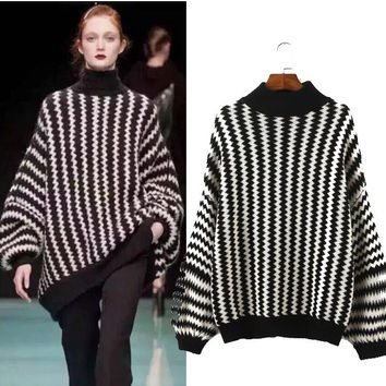 Stylish High Neck Stripes Pullover Women's Fashion Tops Sweater [4919030276]