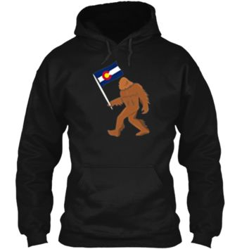 Bigfoot Fourteeners Colorado Apparel Colorado Flag T shirt Pullover Hoodie 8 oz