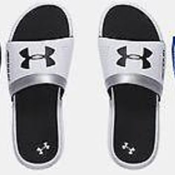 Under Armour Boys UA Playmaker VI Slides Sandals Many Sizes Black, White, Blue