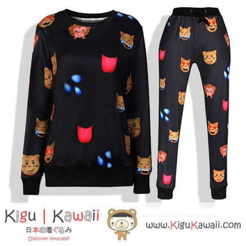 New Cat and Monkey Faces Pattern Kawaii Style Round-Neck Sweater and Jogging Pants KK655