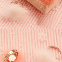 Cute pompom fluff ring white, pink or black