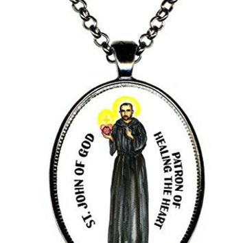 Saint John of God Patron of Healing the Heart Huge 30x40mm Handmade Gunmetal Pendant