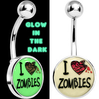 Steel Glow in the Dark I Heart Zombies Belly Ring | Body Candy Body Jewelry