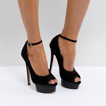 Miss KG Vamp Stacked Heel with Ankle Strap Court at asos.com