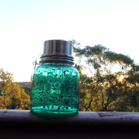 Solar powered jar night light  lantern - emerald green with pewter filigree work - Limited edition