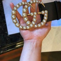 Gucci New Fashion Popular Classic Women Men Metal Double G Letter Pearl Buckle Leather Belt