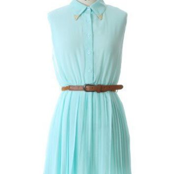Metal Peak Collar Dress with Belt - New Arrivals - Retro, Indie and Unique Fashion