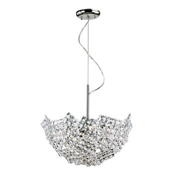 Trans Globe Lighting MDN-1136 Polished Chrome Fragmented Crystal Basket 16-Inch Pendant with Clear Prism Cut Crystals