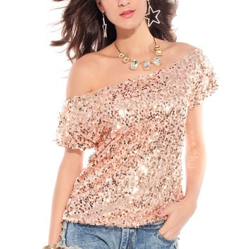Pink Off Shoulder Top with Sequins Overly