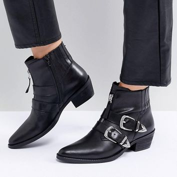 Steve Madden Leia Buckle Western Boot at asos.com
