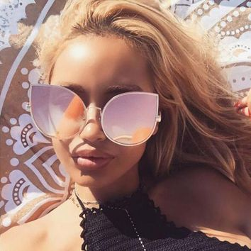 Cateye Mirror Sunglasses Luxury Brand Women Pink Oversize Sunglasses Gradient Cat Eye Ladies Sun Glasses Big Frame Lunette Femme