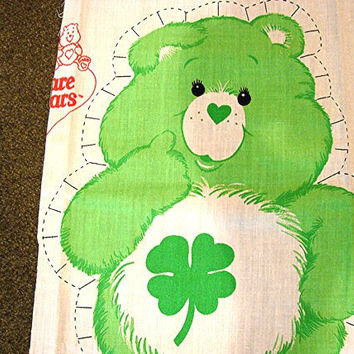The Care Bears Fabric Panel 1980s Care Bear Cotton Fabric Sewing Panel Stuff and Sew Pillow GOOD LUCK BEAR